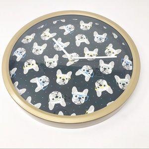 Cynthia Rowley French Bull Dog Black &Gold Clock